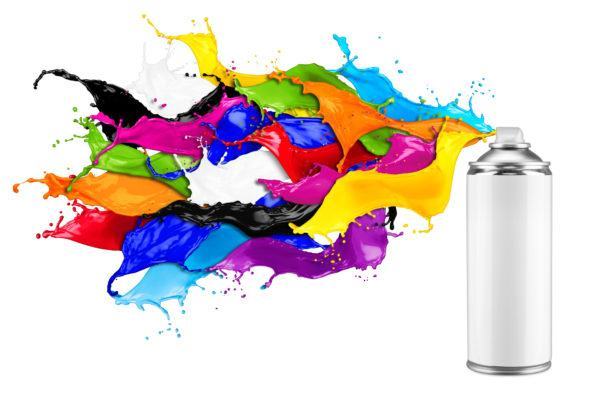 spray can spraying colorful rainbow paint liquid